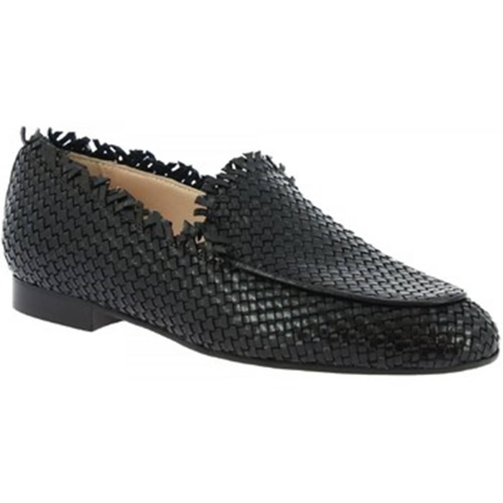 Leonardo Shoes Mokasíny  091 INTRECCIO CAPRETTO NERO