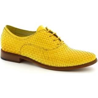 Derbie Leonardo Shoes  W027-08INT INTRECCIATO GIALLO