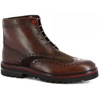 Polokozačky Leonardo Shoes  M631-24 S. F CALF/SEVENTY/T. MORO