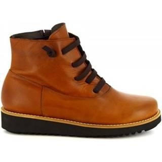 Polokozačky Leonardo Shoes  4532 IGRASSATO CUOIO