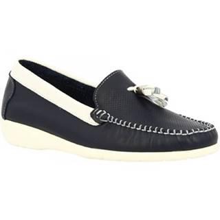 Mokasíny Leonardo Shoes  202VEN BLU BIANCO