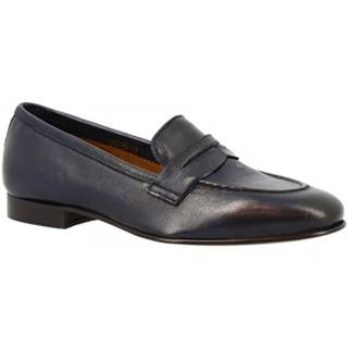 Mokasíny Leonardo Shoes  TOR04 MONTONE BLUE