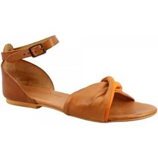 Sandále Leonardo Shoes  PC127 CAPRA CUOIO/ARANCIO