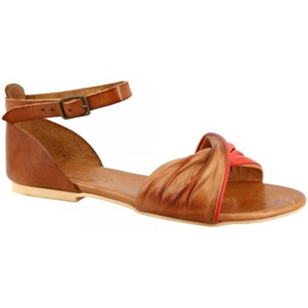 Leonardo Shoes Sandále Leonardo Shoes  PC127 CAPRA CUOIO/ROSSO