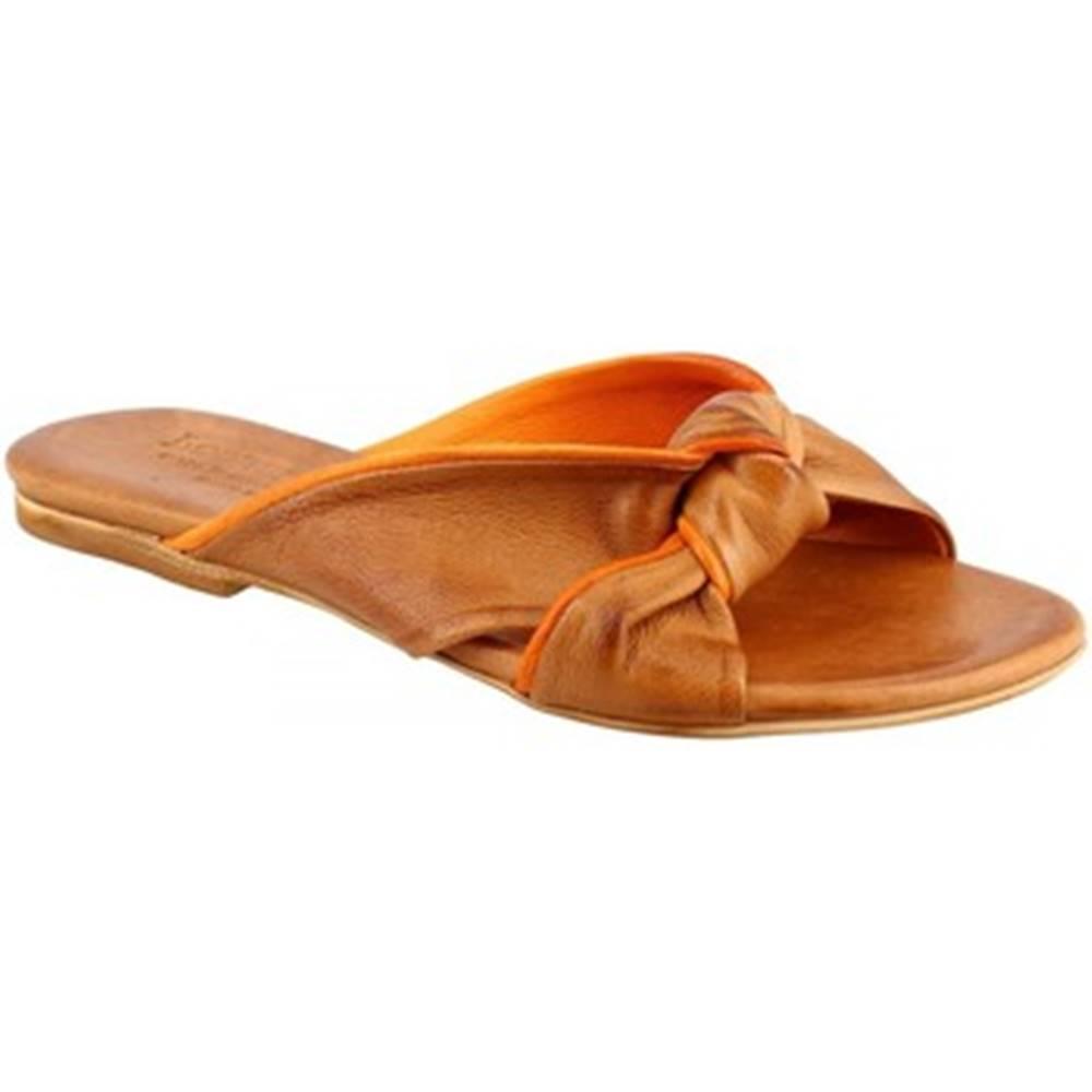 Leonardo Shoes Sandále  PC139 CAPRA CUOIO/ARANCIO