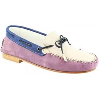 Mokasíny Leonardo Shoes  502 NABUK GLICINE GRIGIO BLU