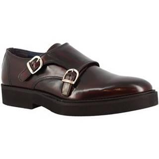 Mokasíny Leonardo Shoes  731-16 PE ABBRASIVA BORDEAUX
