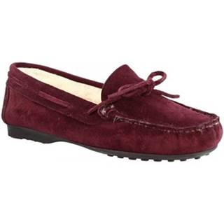 Papuče Leonardo Shoes  158 CAMOSCIO BORDEAUX DONNA