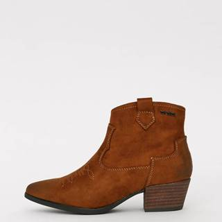 Hnedé dámske členkové topánky v semišovej úprave Tom Tailor