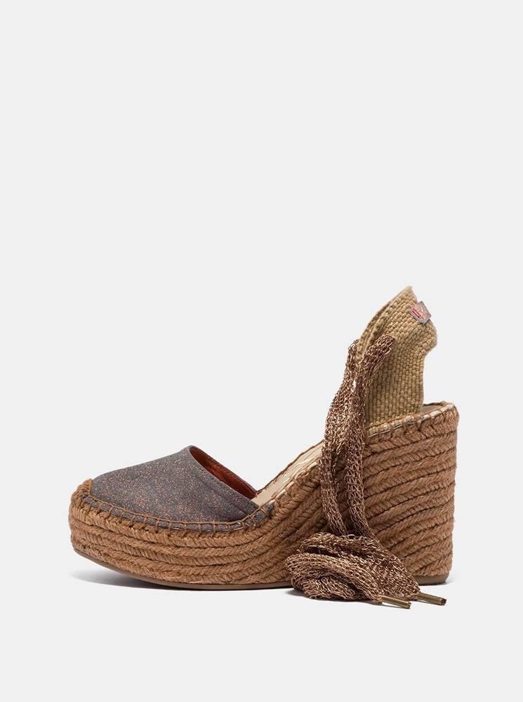 Replay Hnedé dámske sandálky na plnom podpätku Replay