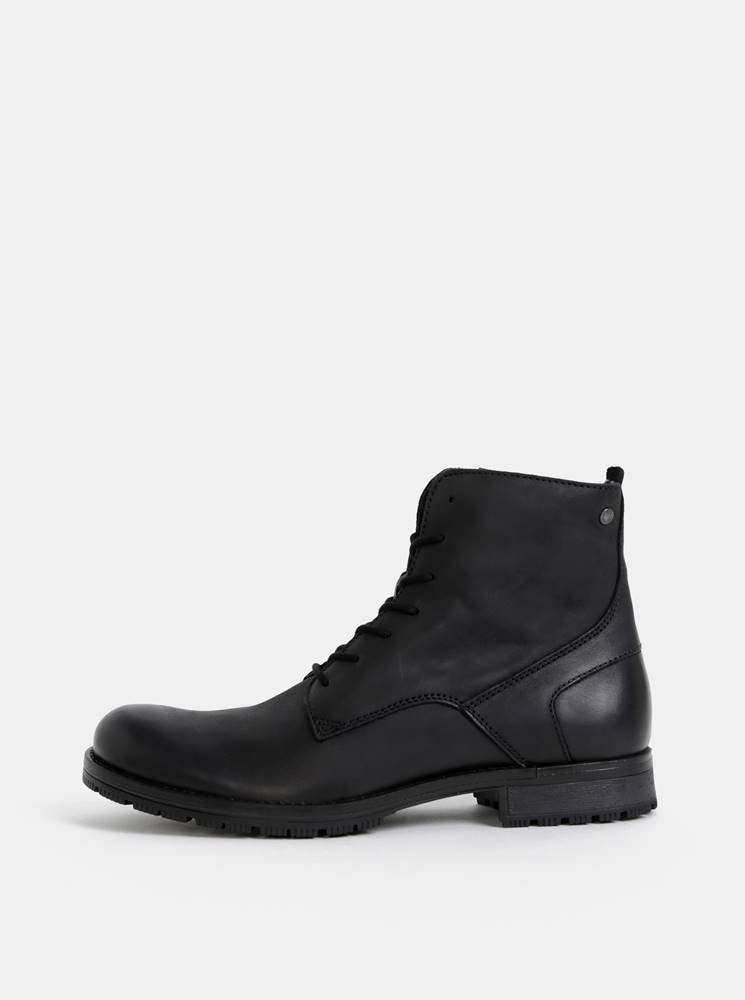 Jack & Jones Čierne pánske kožené topánky Jack & Jones Worca