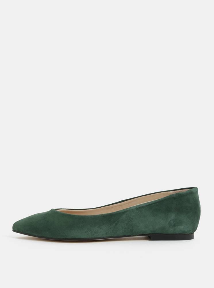 Zelené semišové baleríny