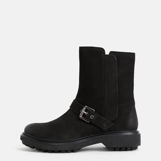 Geox  Černé dámske kožené členkové topánky Geox Sheely