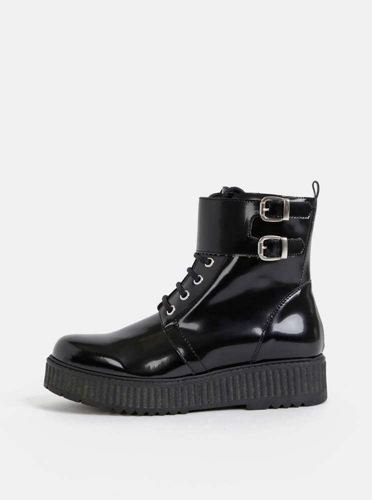 OJJU Čierne lesklé členkové topánky na platforme OJJU