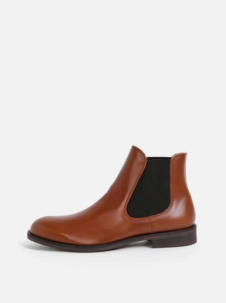 Selected Homme Hnedé kožené chelsea topánky Selected Homme Louis