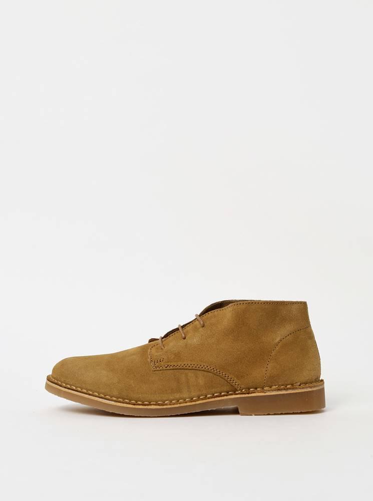 Selected Homme Béžové pánske semišové členkové topánky Selected Homme Royce