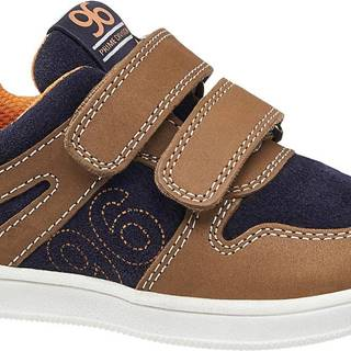 Bobbi-Shoes - Hnedo-modré kožené tenisky na suchý zips Bobbi Shoes