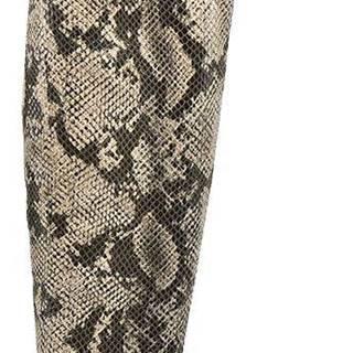 Sivobéžové čižmy nad kolená so zvieracím vzorom Rita Ora