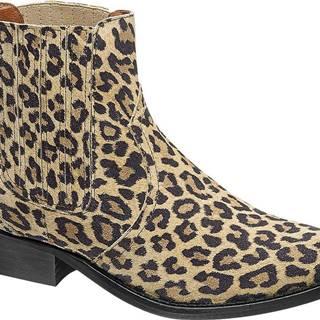 Hnedá kožená Chelsea obuv so zvieracím vzorom Catwalk