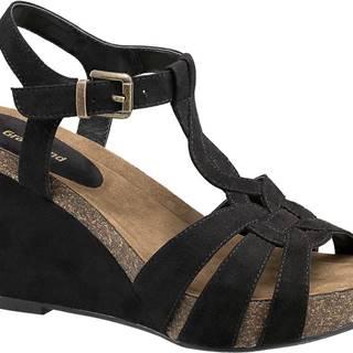 Čierne sandále na klinovom podpätku Graceland