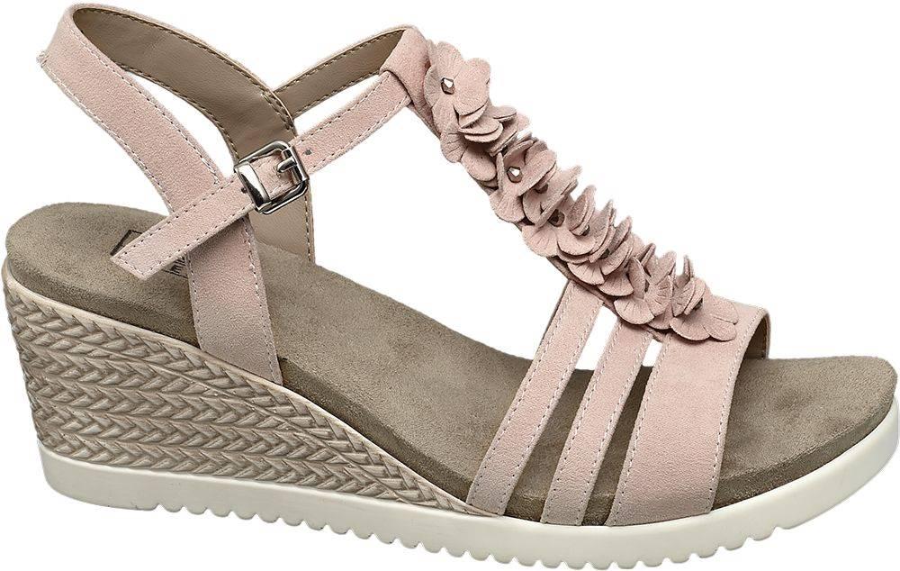 Easy Street Ružové komfortné sandále na klinovom podpätku Easy Street