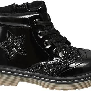 Cupcake Couture - Čierna lakovaná členková obuv so zipsom Cupcake Couture