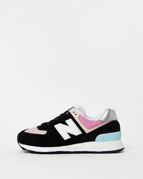 New Balance  Ružovo-čierne dámske semišové tenisky New Balance 574