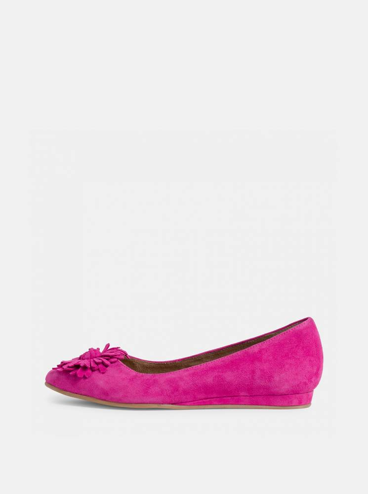 Tamaris Ružové semišové baleríny Tamaris