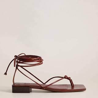 Vínové kožené sandále Mango Cordon