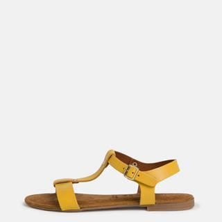 Žlté kožené sandále Tamaris