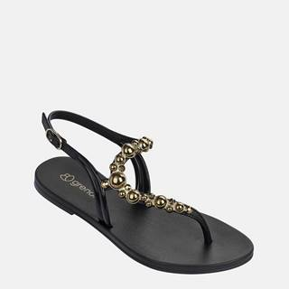 Čierne sandále s detailmi v zlatej farbe Grendha